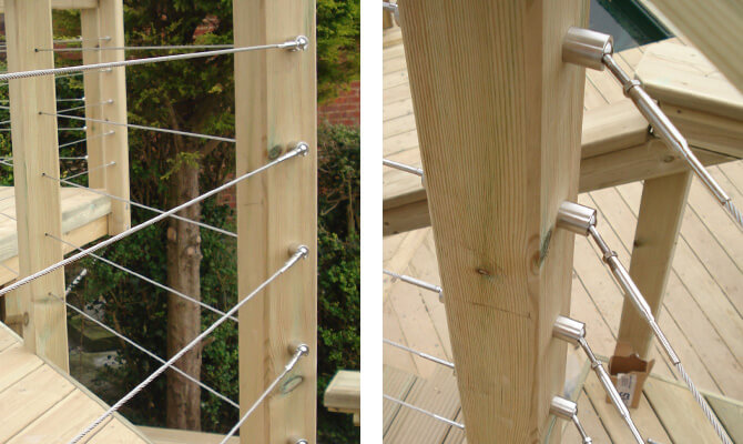 Stainless Steel Deck Cables articulating with angles