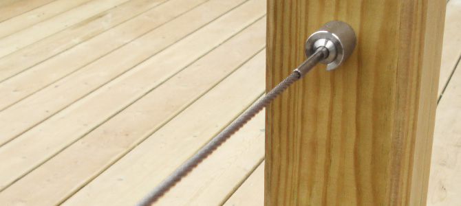 Stainless Steel balustrade wire with Surface Mount Sockets