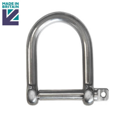Stainless Steel Wide D Shackle - Marine Grade 316