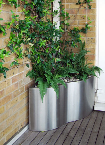 Bespoke Stainless Planters And Green Wall Trellis