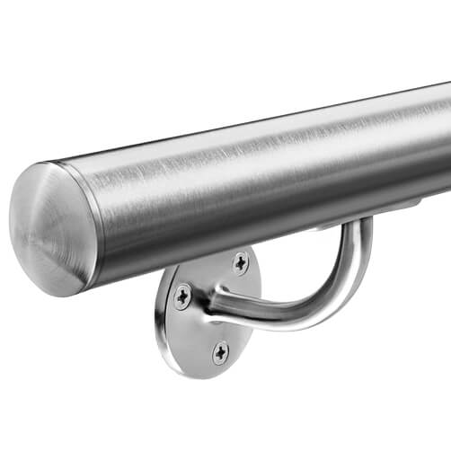 Stainless Steel Handrail, Ready Made with Curved Bracket