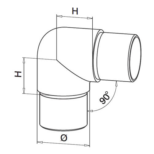 90 Degree Smooth Radius Tube Connector - Modular Stainless Steel Balustrade - Diagram