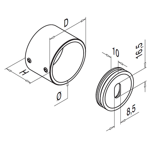 Wall Mount Flange Fixing - Stainless Steel - Diagram