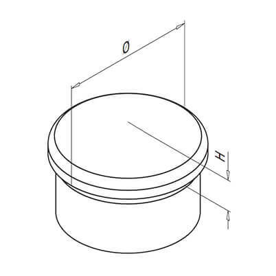 Ultra Resistant Bevelled End Cap Technical Drawing