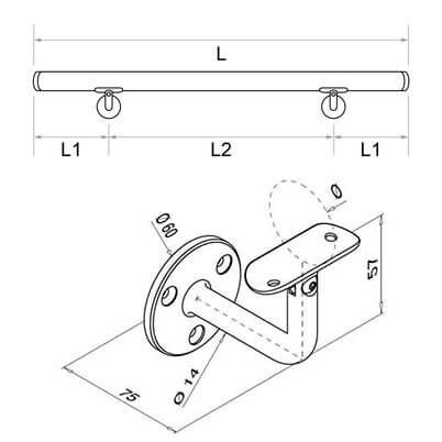 Hardwood Oak Handrail with Adjustable Angle Plate Bracket Diagram