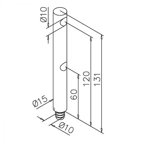 Double End Post - 10mm Mini Rail - Dimensions