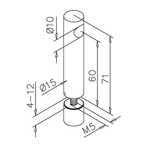 End Post - Glass Mount - 10mm Bar Railing - Dimensions