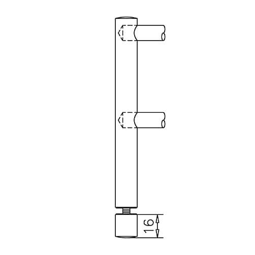 End Post - Glass Mount - 10mm Bar Railing - Profile