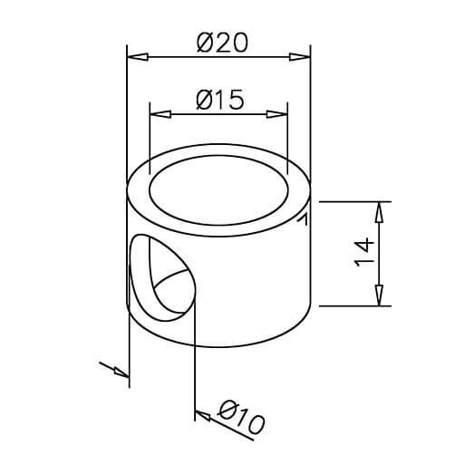 Adapter for End Post - 10mm Bar Railing - Dimensions