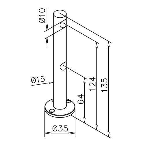 Double Mid Post Bracket - 10mm Bar Railing - Dimensions