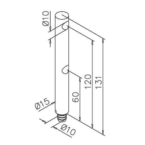 Double Mid Post - 10mm Mini Rail - Dimensions