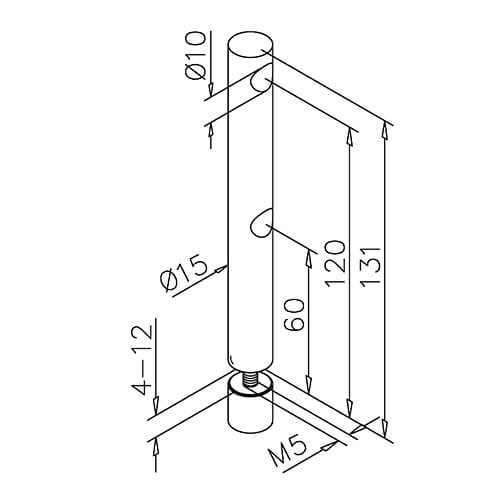 Double Mid Post - Glass Mount - Dimensions