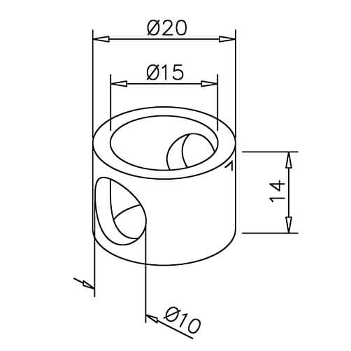 Adapter for Mid Post - 10mm Bar Rail - Dimensions