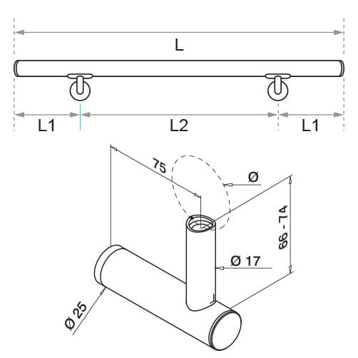 Handrail with Invisible Fixing Bracket - Dimensions