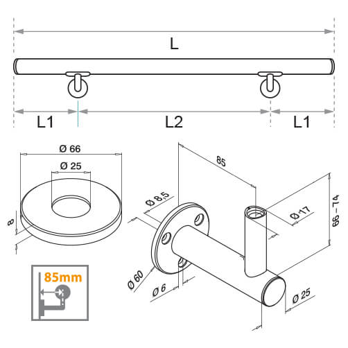 Handrail with Flush Fixing Plate Bracket - Dimensions