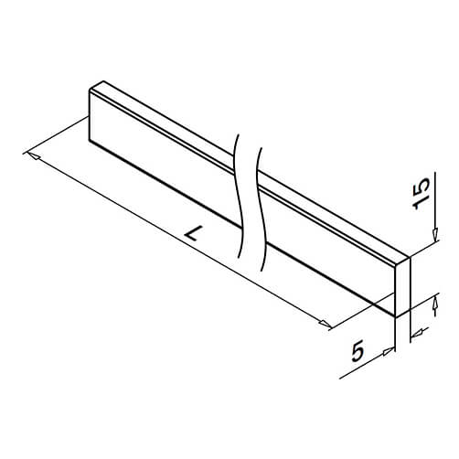 Square Line Handrail Flat Handrail Bar Technical Drawing