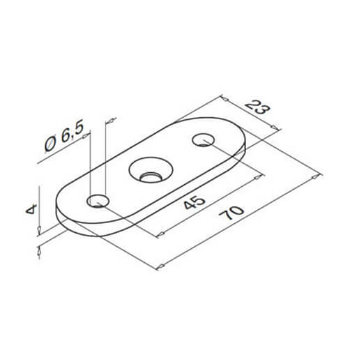 Handrail Saddle Plate Flat - Technical