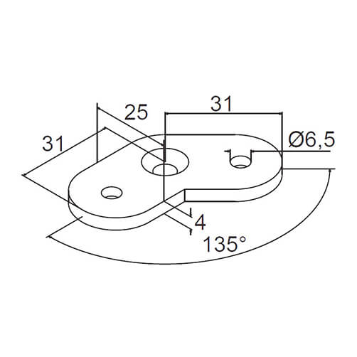 Handrail Saddle Plate 135 Flat - Technical