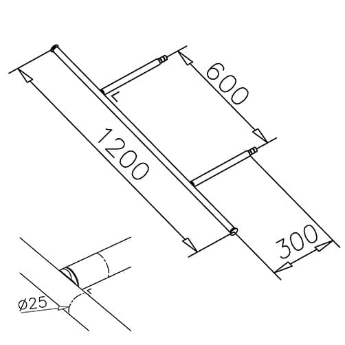 Clothes Rail Kit - Dimensions