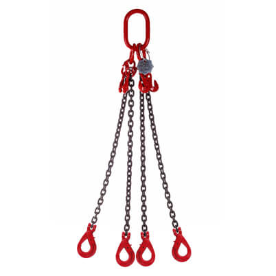 4 Leg Lifting Chain Sling with Clevis S/L Hooks - Grade 80