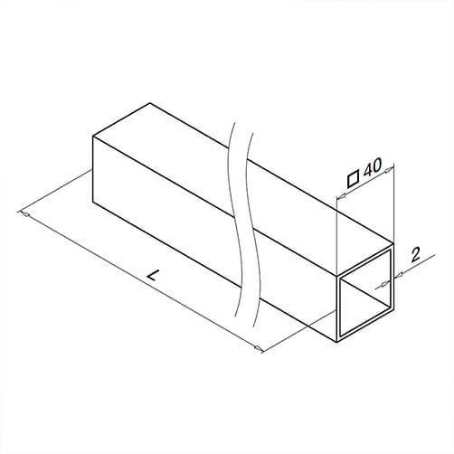 40mm Balustrade Square Section Technical Drawing