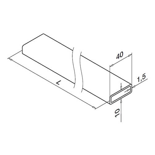 Stainless Steel Flat Profile Handrail Section Technical Drawing