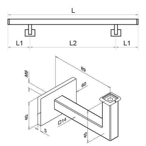 Stainless Steel Square Handrail with Angle Plate Bracket Diagram