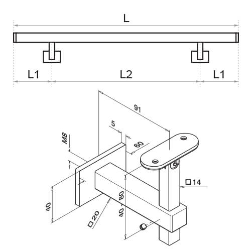 Stainless Steel Square Handrail with Adjustable Bracket Diagram