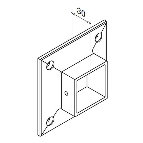 Wall Mount Square Flange Fixing, Stainless Steel Diagram