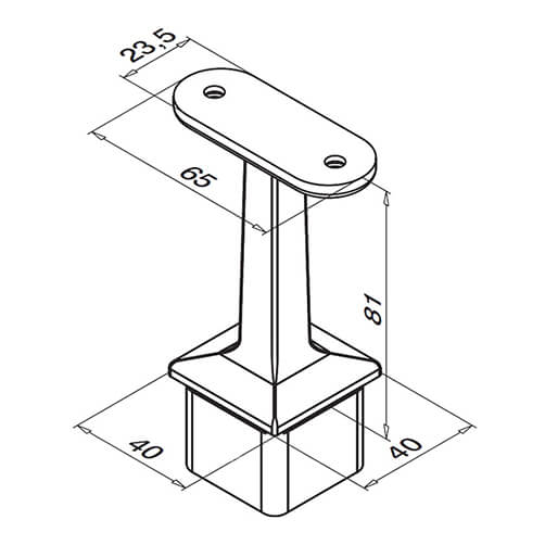 Square Balustrade Handrail Saddle - In-Line - Flat Fix - Dimensions