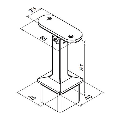Square Adjustable Flat Handrail Saddle - In-Line - Dimensions