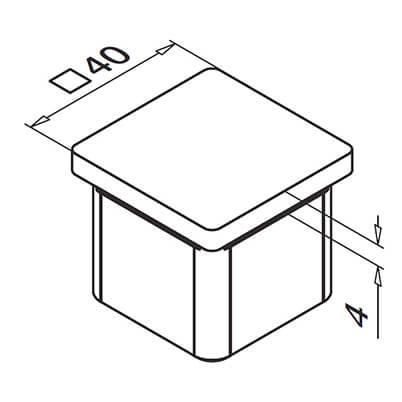 Stainless Steel Square Balustrade End Cap - Flat Diagram