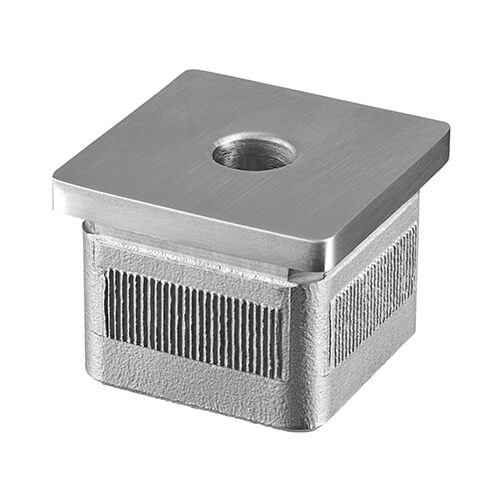 Square Balustrade Mounting Adapter - Flat, Threaded - Stainless Steel