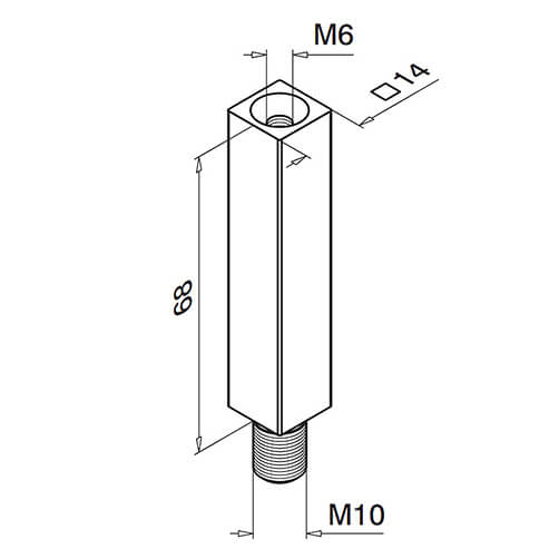 Square Balustrade Mounting Pillar, Threaded - Stainless Steel Diagram