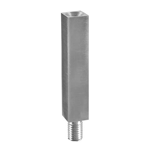 Square Balustrade Mounting Pillar, Threaded - Stainless Steel