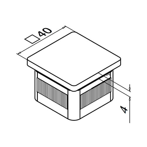 Square Balustrade End Cap - Flat - Dimensions