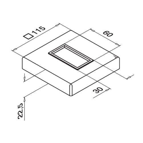 Base Cover Cap Dimensions - Square Line 60x30 Balustrade