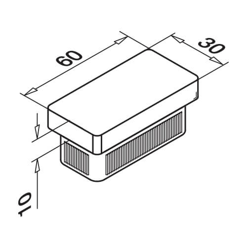 60x30mm Profile End Cap - Dimensions