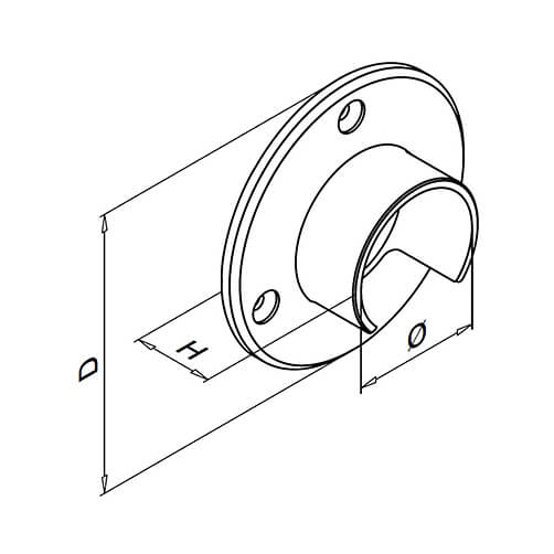 Wall Flange Handrail Connector For Glass Channel Balustrade Diagram