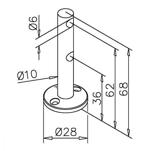 Double End Post Bracket - 6mm Bar Railing - Dimensions