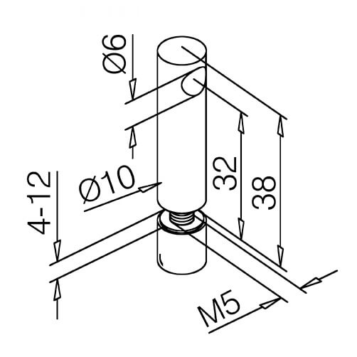 End Post - Glass Mount - 6mm Bar Railing - Dimensions