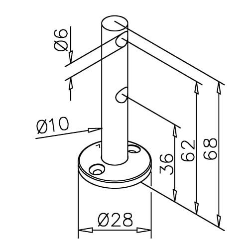 Double Mid Post Bracket - 6mm Bar Railing - Dimensions