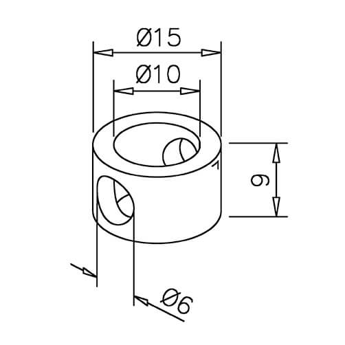 Adapter for Mid Post - 6mm Bar Railing - Dimensions