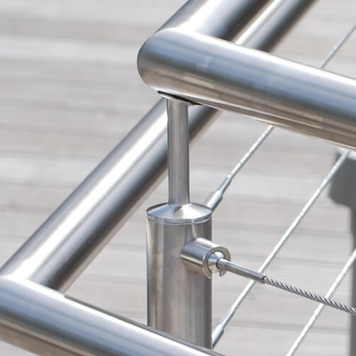 Stainless Steel Balustrade Handrail Saddle - 90 Degree - Tube - Example