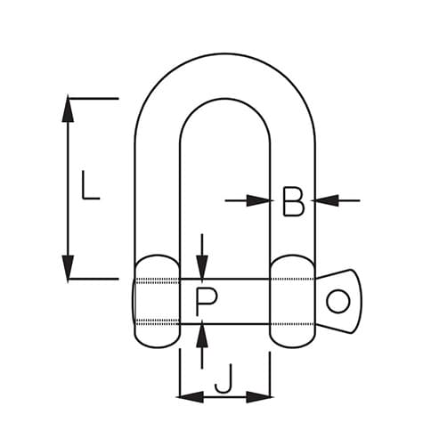 Stainless Steel D Shackle Shake Proof Pin - Diagram