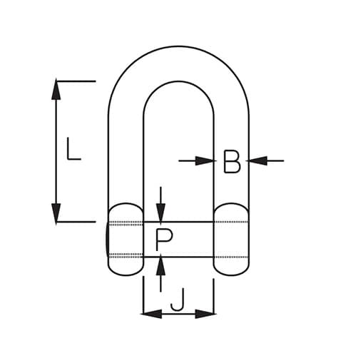Stainless Steel D Shackle with Socket Head Pin Diagram
