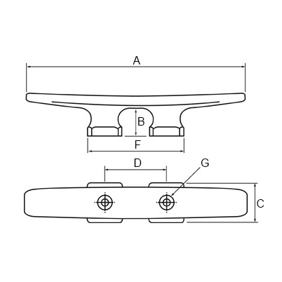 Open Base Deck Cleat - 2 Hole - Diagram
