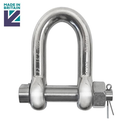 Stainless Steel Safety D Shackle with E Type Pin