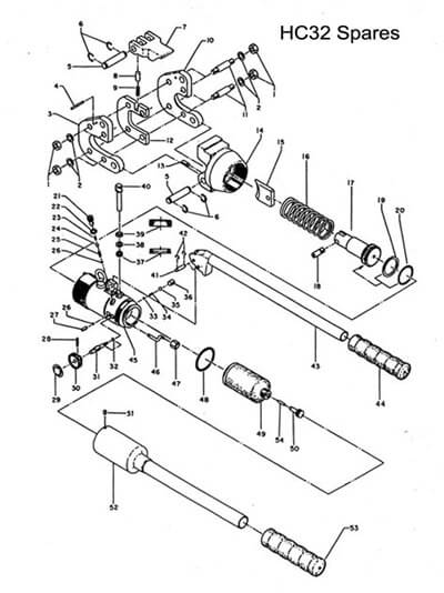 Hydraulic Wire Cutter 32mm Spares Diagram