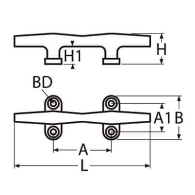 Hollow Base Cleat Main - 4 Hole - Diagram